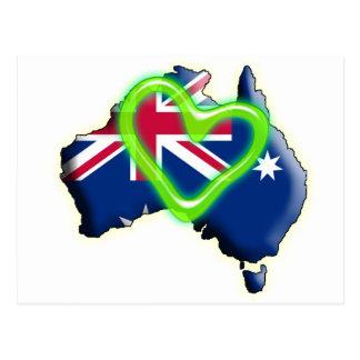 Australia (green heart) postcard