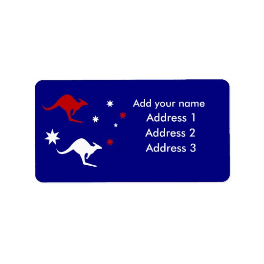 Australia Kangaroo and Southern Cross design Label