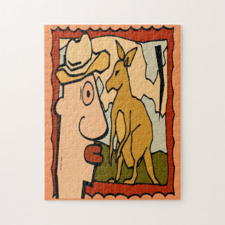 Australia Kangaroo Art Deco Jigsaw Puzzles