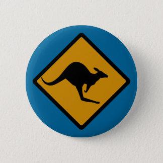 Australia Kangaroo Crossing Sign 6 Cm Round Badge