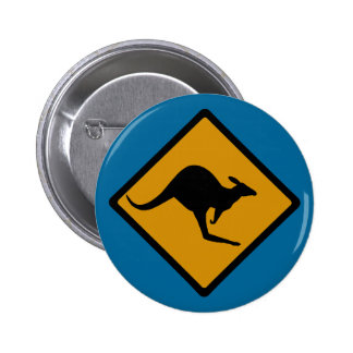 Australia Kangaroo Crossing Sign 6 Cm Round Badge