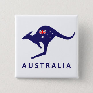AUSTRALIA KANGAROO FLAG 15 CM SQUARE BADGE