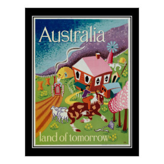 Australia Land of Tomorrow Vintage Poster