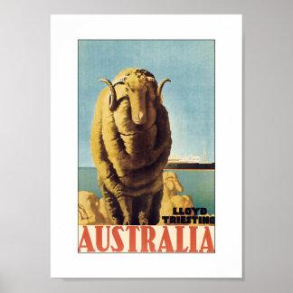 Australia - Lloyd Triestino (white) Print