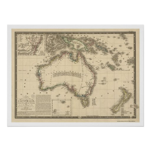 Australia Map Drawn by Adrien Hubert Brue 1826 Poster