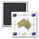 Australia Map + Flags Magnet