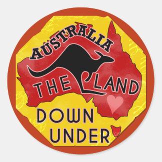 Australia Map Land Down Under with Kangaroo Retro Round Sticker