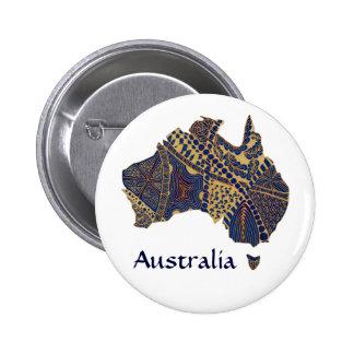 Australia Map Tan-Blue-Red 6 Cm Round Badge