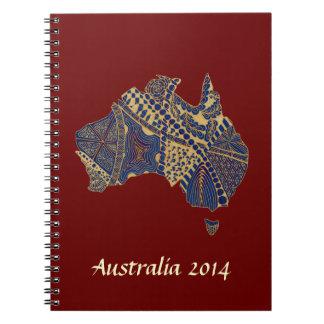 Australia Map Tan-Blue-Red Notebook