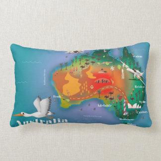 Australia Map Travel poster Lumbar Cushion