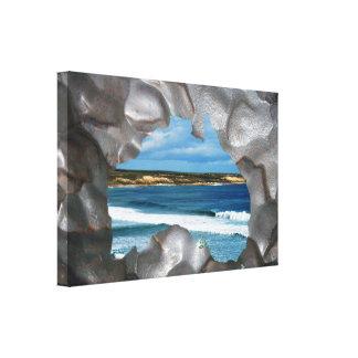Australia Metallic Map Seascape View, Canvas Print