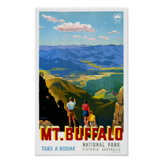 Australia Mt. Buffalo Vintage Travel Poster