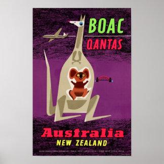 Australia New Zealand Vintage Poster Restored
