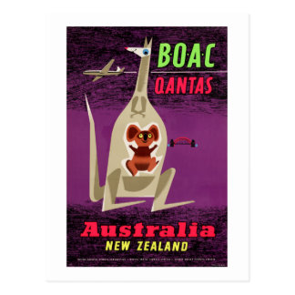 Australia New Zealand Vintage Poster Restored Postcard
