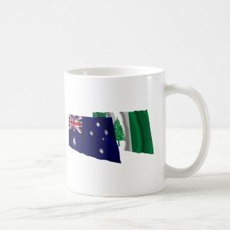 Australia & Norfolk Island Waving Flags Basic White Mug