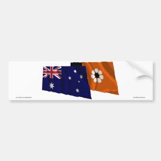 Australia & Northern Territory Waving Flags Bumper Sticker