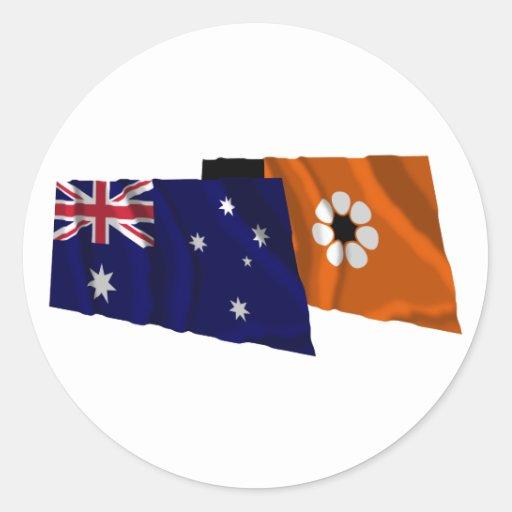 Australia & Northern Territory Waving Flags Round Sticker