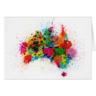 Australia Paint Splashes Map Greeting Card