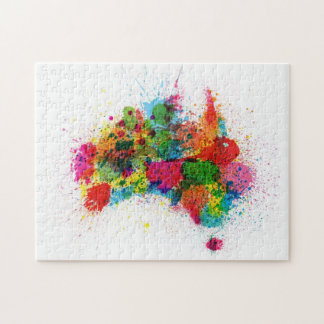 Australia Paint Splashes Map Jigsaw Puzzle