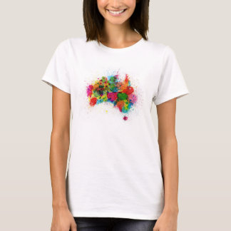 Australia Paint Splashes Map T-Shirt