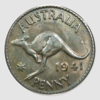 Australia Penny 1941 (pack of 6/20) Classic Round Sticker
