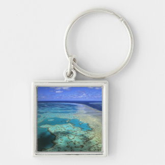 Australia - Queensland - Great Barrier Reef. 4 Silver-Colored Square Key Ring