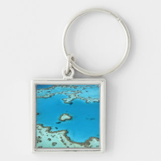 Australia - Queensland - Great Barrier Reef. 5 Silver-Colored Square Key Ring