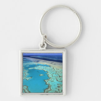 Australia - Queensland - Great Barrier Reef. 7 Silver-Colored Square Key Ring
