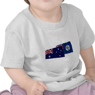 Australia & Queensland Waving Flags T-shirts