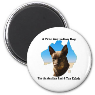 Australia Red and Tan Kelpie with map 6 Cm Round Magnet
