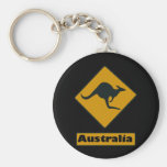 Australia Road Sign - Kangaroo Crossing Basic Round Button Key Ring