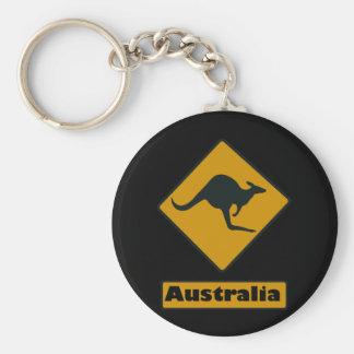 Australia Road Sign - Kangaroo Crossing Key Ring