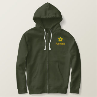 Australia Soccer ball Embroidered Basic Zip Hoodie