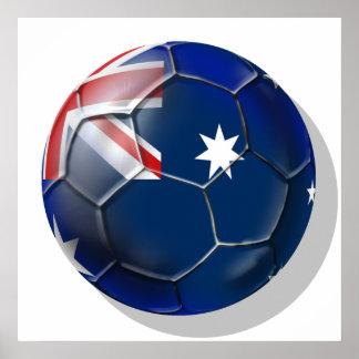 Australia Socceroos Soccer fans Oz flag Ball Poster