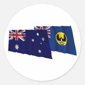 Australia & South Australia Waving Flags Round Sticker
