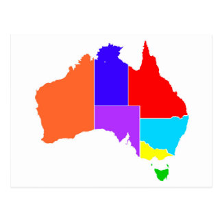 Australia States In Colour Silhouette Postcard