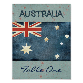 Australia Table Number Poster
