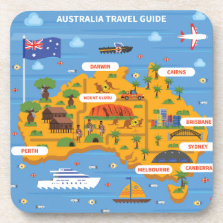 Australia Travel Guide Poster Coaster