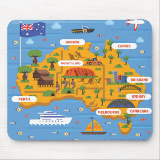 Australia Travel Guide Poster Mouse Pad