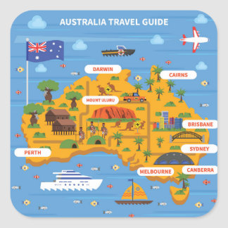 Australia Travel Guide Poster Square Sticker