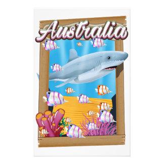 Australia Underwater shark travel poster Stationery Paper