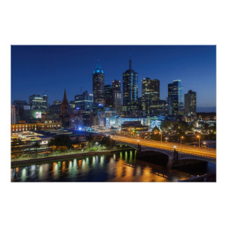 Australia, Victoria, Melbourne, skyline with Poster