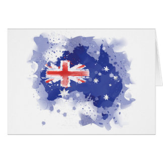 Australia Watercolor Map Card