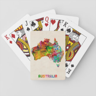 Australia Watercolor Map Poker Cards