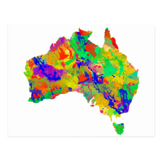 Australia Watercolor Map Postcard