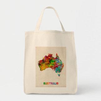Australia Watercolor Map Grocery Tote Bag