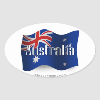 Australia Waving Flag Oval Sticker
