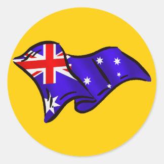 Australia wavy flag gift ideas for Aussies Classic Round Sticker
