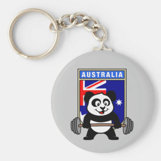 Australia Weightlifting Panda Basic Round Button Key Ring