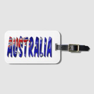 Australia Word With Flag Texture Luggage Tag